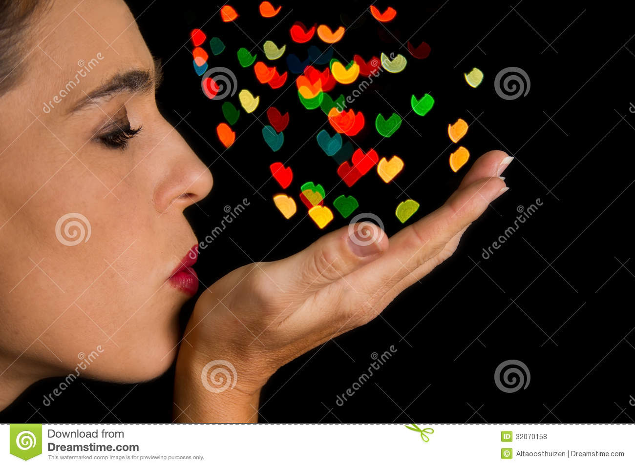 Woman Blow Heart Shape... Drying Off Clipart