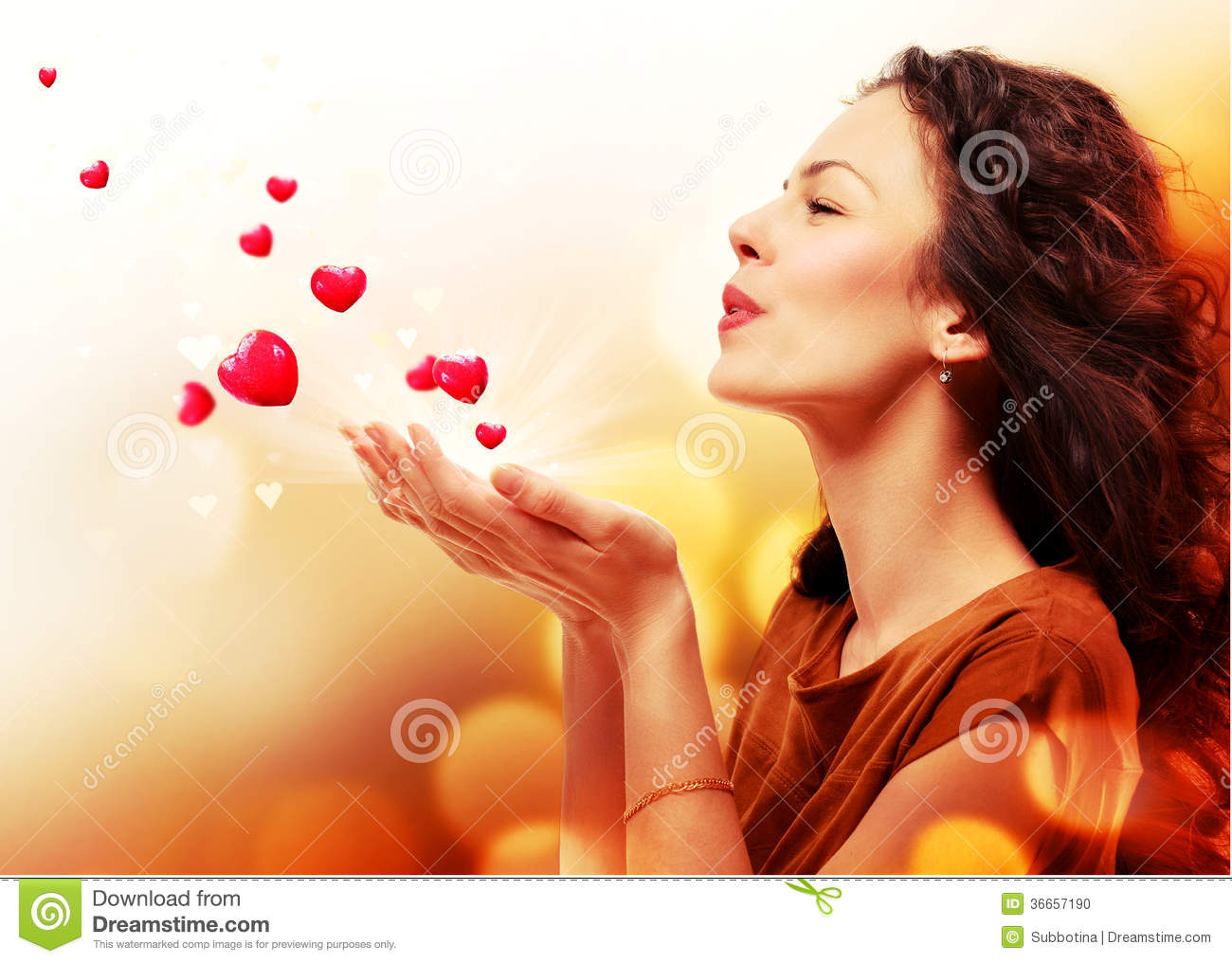 Woman Blowing Hearts from Hands
