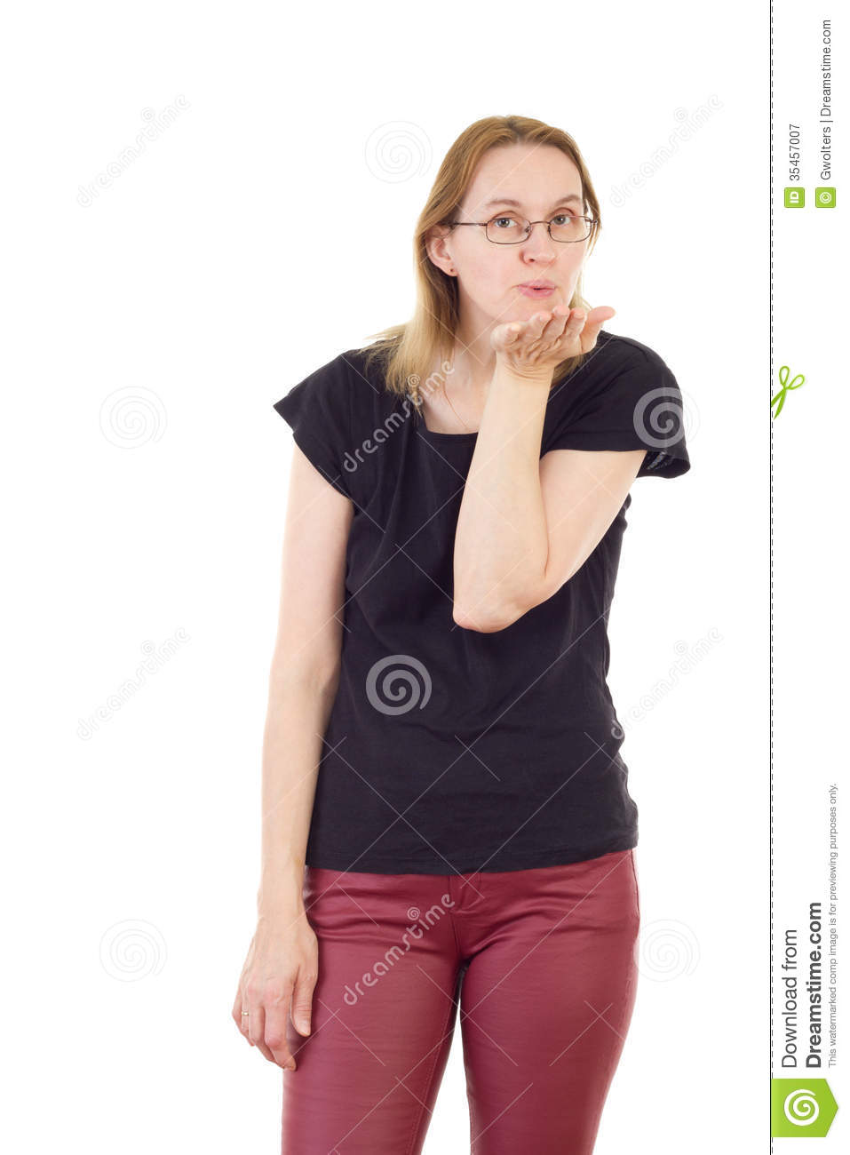 Woman Blowing Kisses To You Stock Image - Image of claret ...