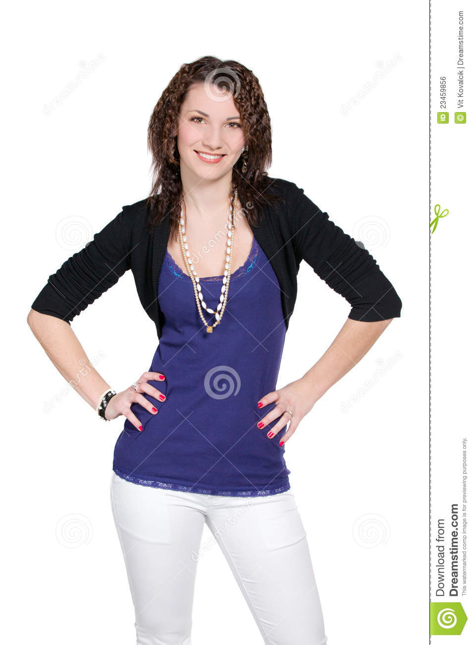 Woman In Blue With Arms Akimbo Stock Photo Image Of