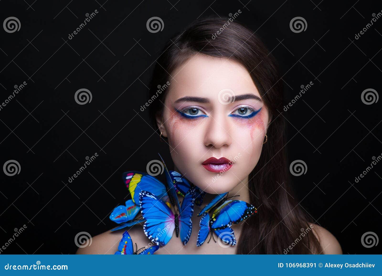 Woman blue butterfly