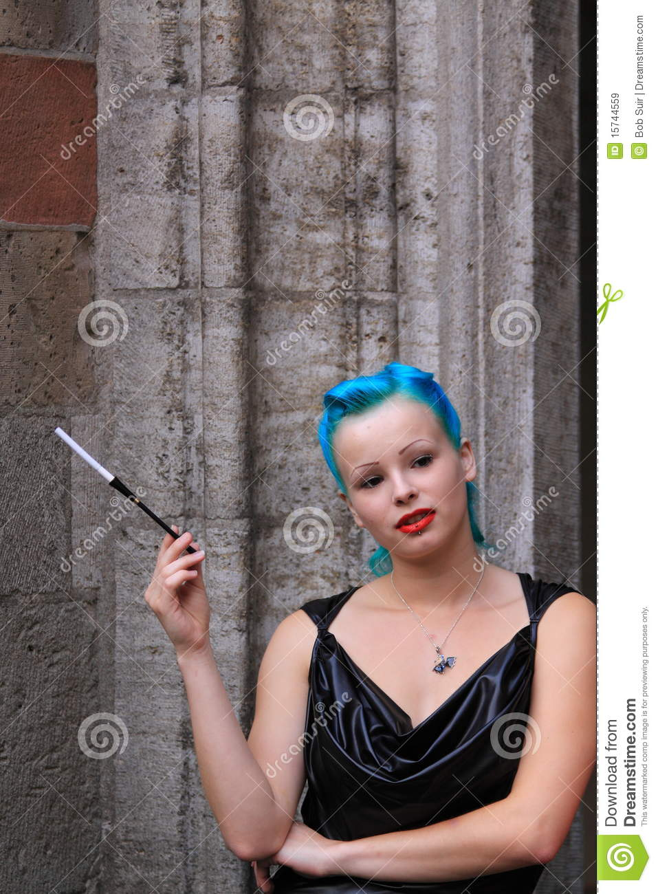 Woman With Blue Hair Cigarette Leather Dress Royalty Free