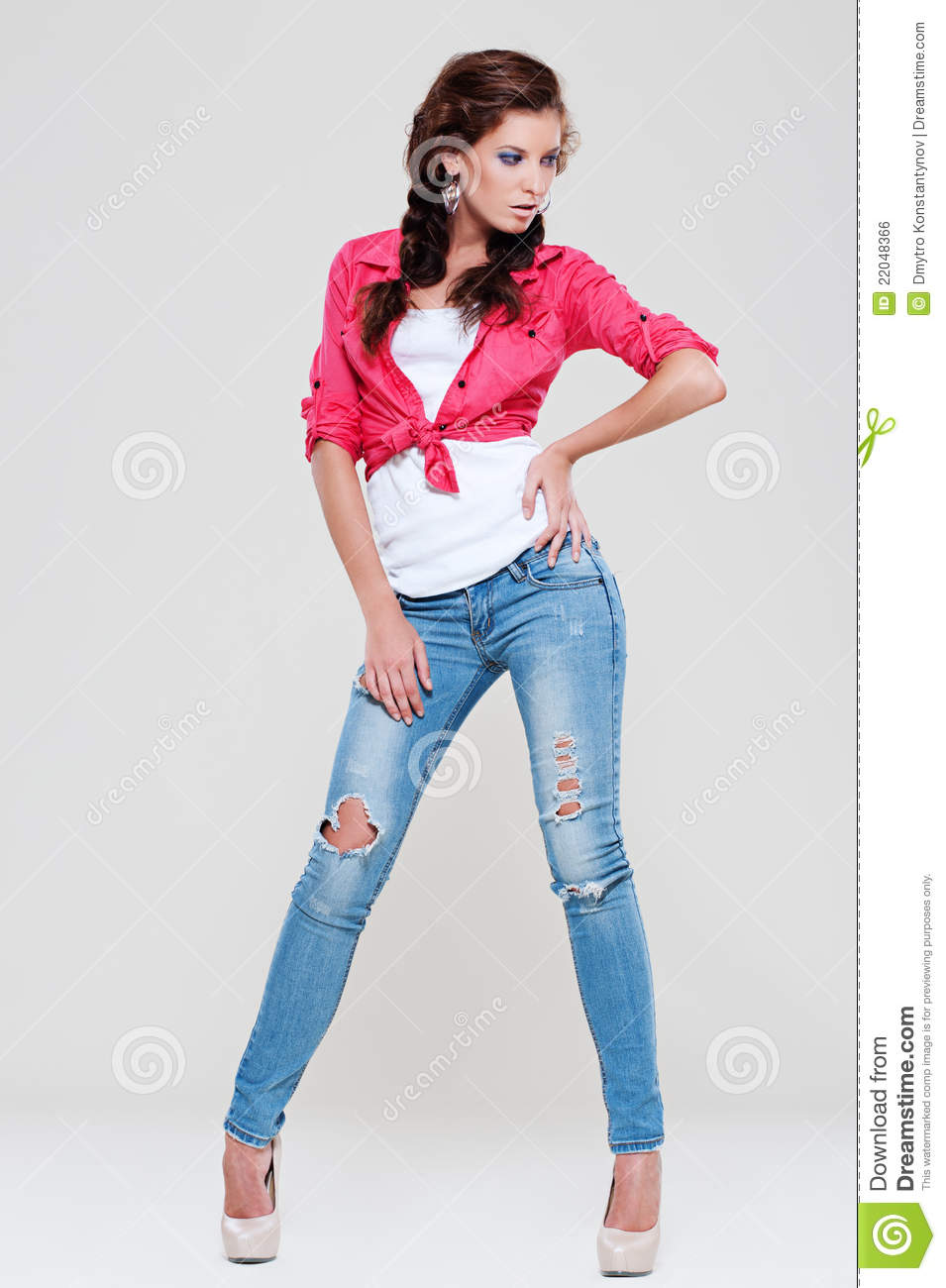 Woman In Blue Jeans And Red Shirt Royalty Free Stock Image - Image ...