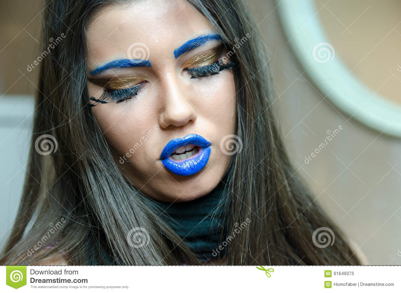 Woman With Blue Lipstick And Unique Makeup Stock Image Image Of