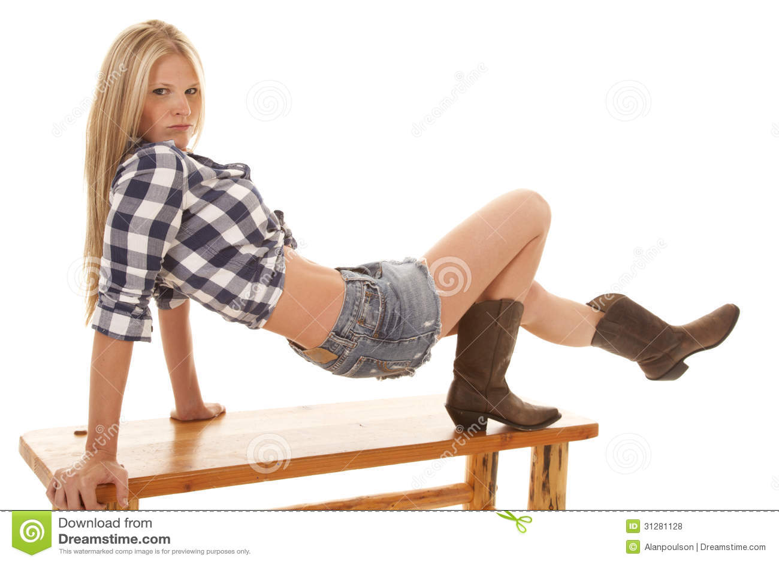 woman blue plaid shirt skirt up bench royalty free stock redneck clipart logos redneck clipart free cartoons