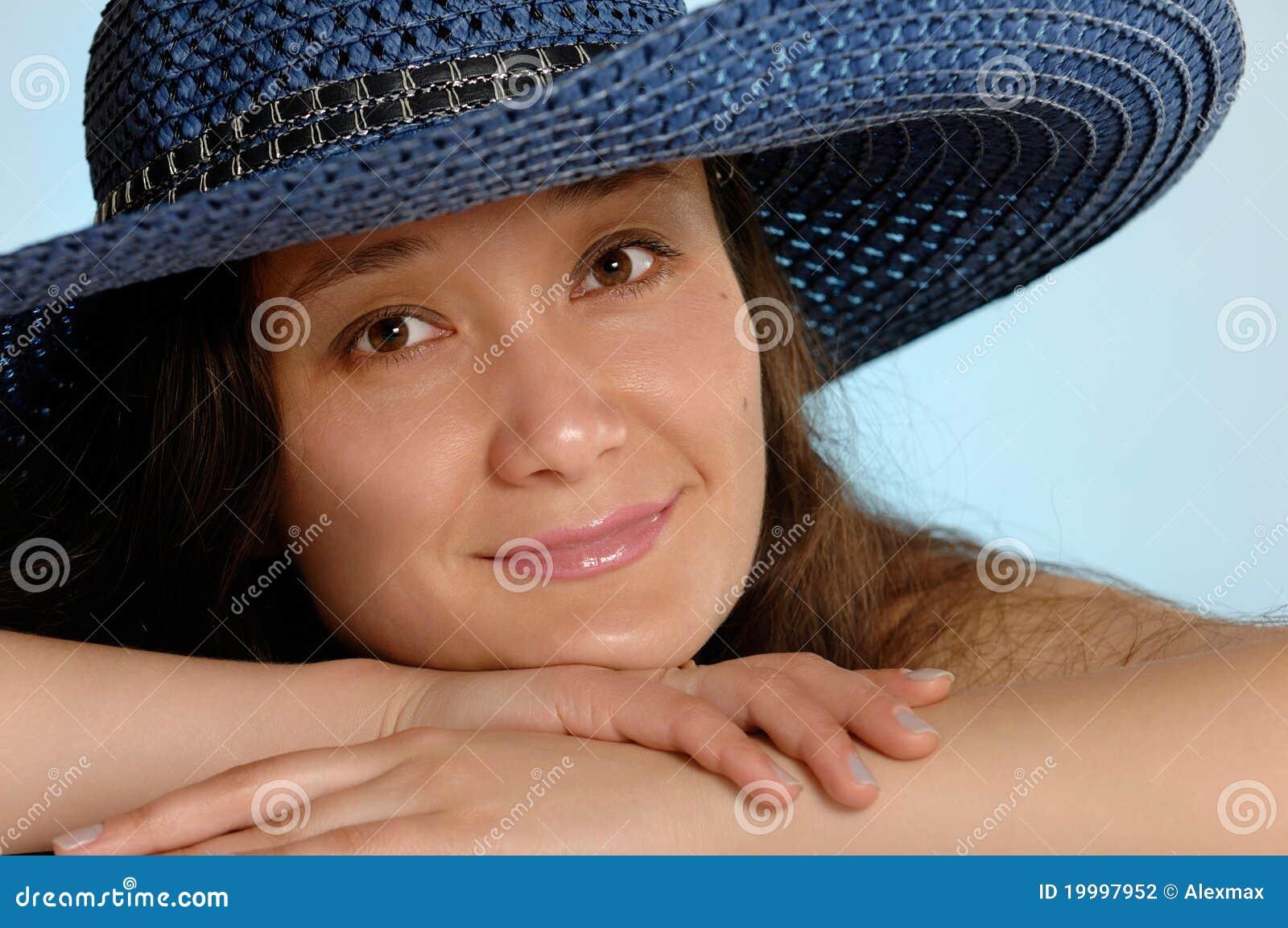 Woman in a Blue Sunhat