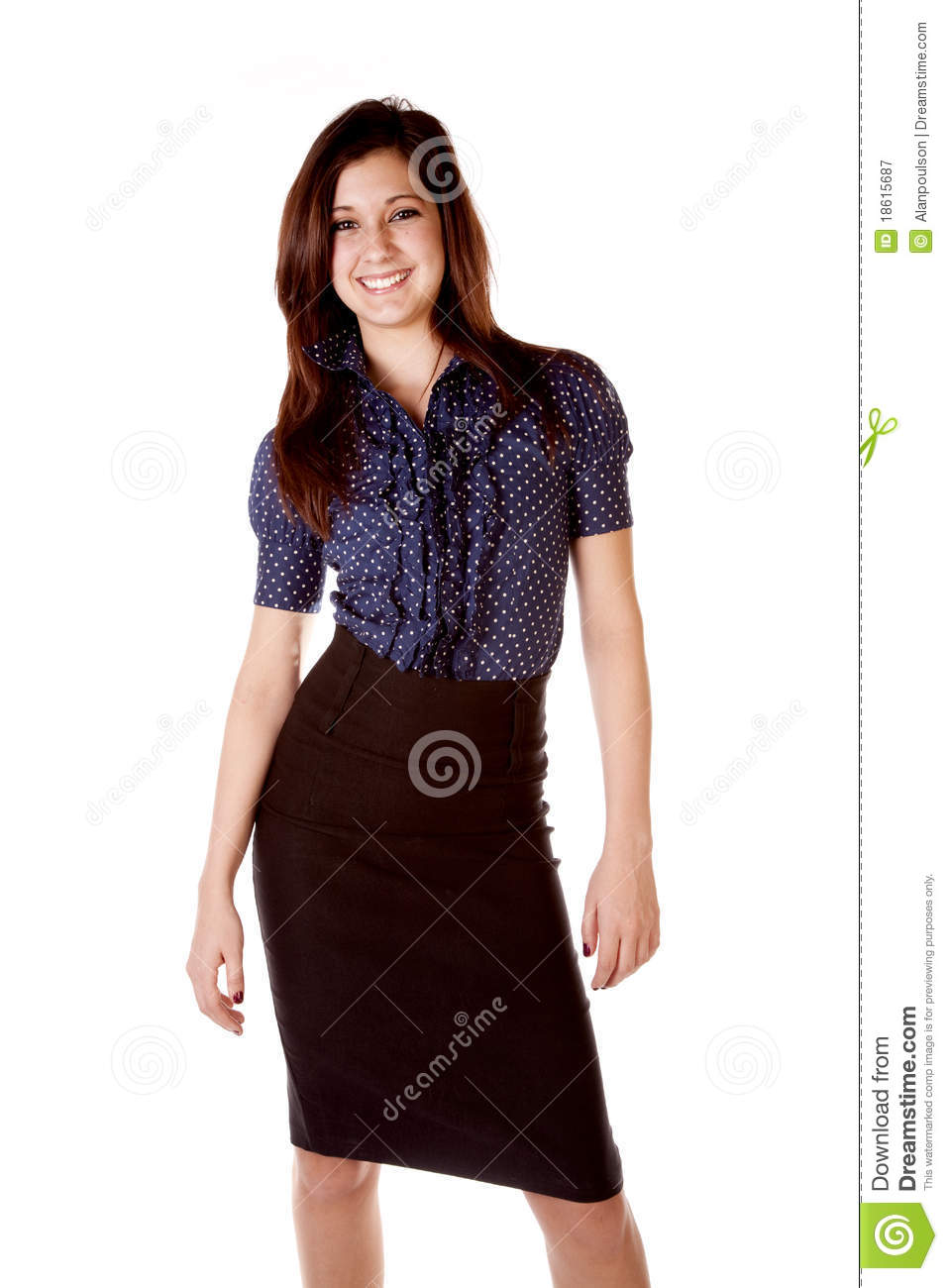 in blue top and black skirt smile royalty free stock