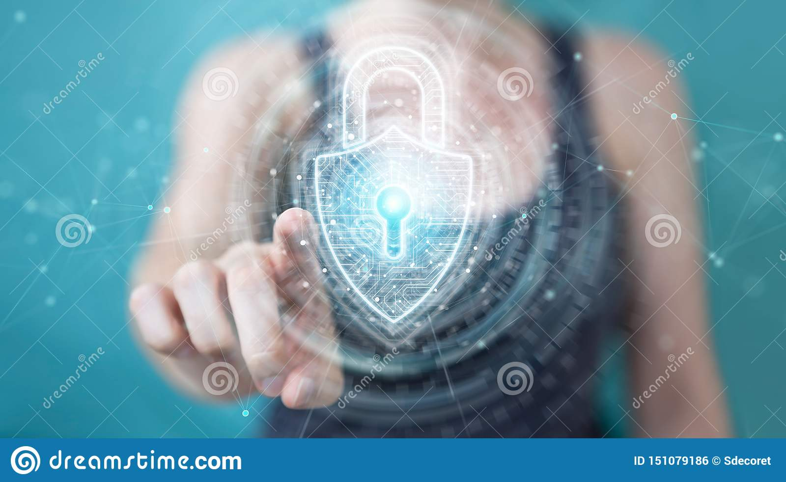 Womanusing digital padlock security interface to protect datas 3D rendering