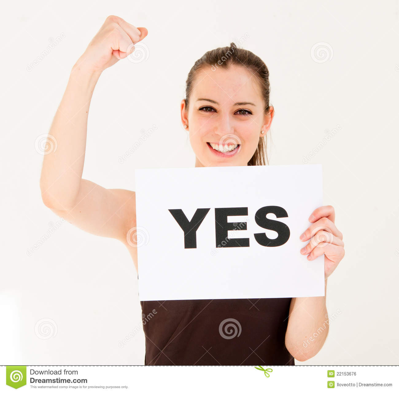 Woman With Board Yes Royalty Free Stock Image - Image: 22153676 Woman
