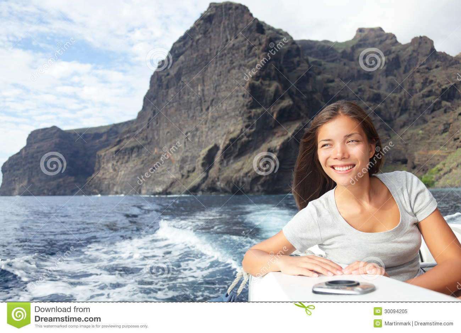 Woman On Boat Sailing Looking At Ocean Royalty Free Stock ...