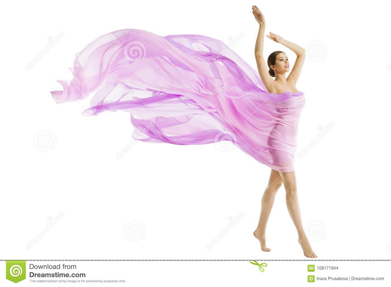 Woman Body Beauty, Model Dressed in Silk Pink Flying Fabric