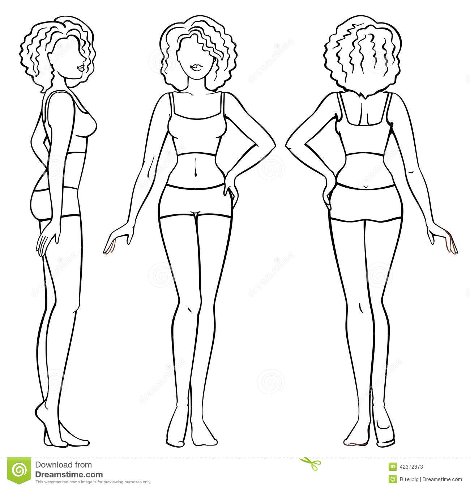 Aankleedpop Kind Kleurplaat Woman Body Stock Vector Illustration Of Side Biology