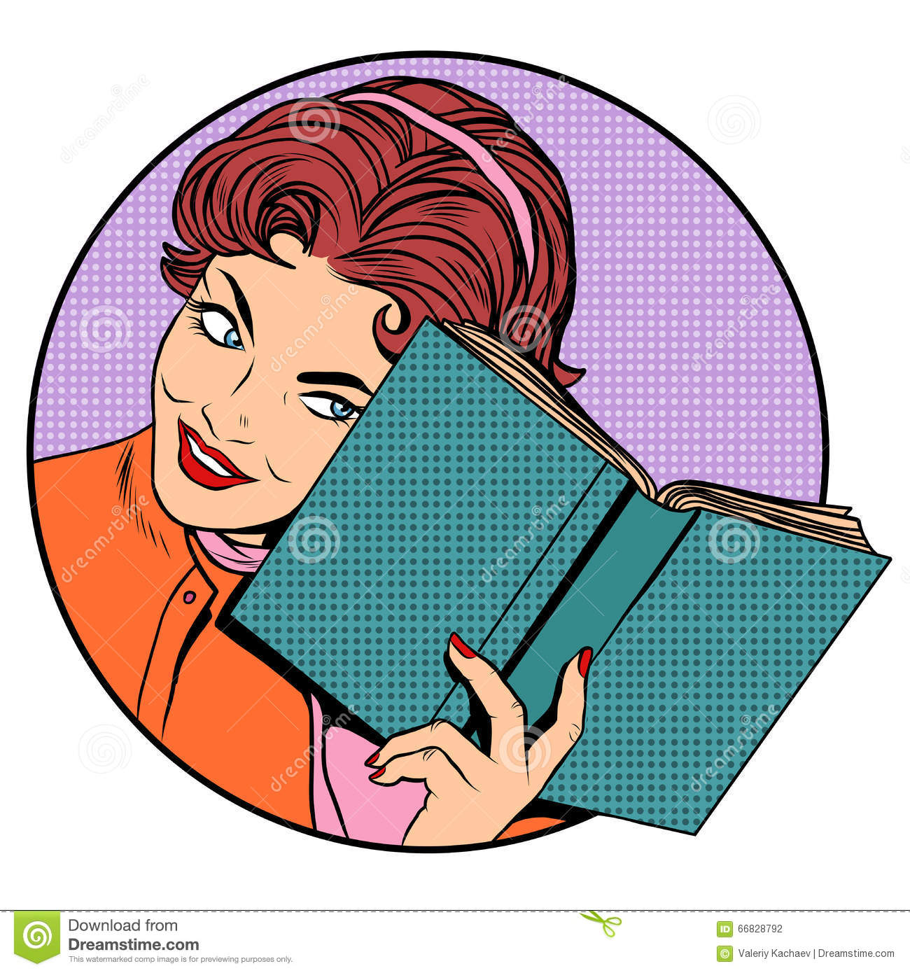 Clever School Girl: Woman With A Book Stock Vector