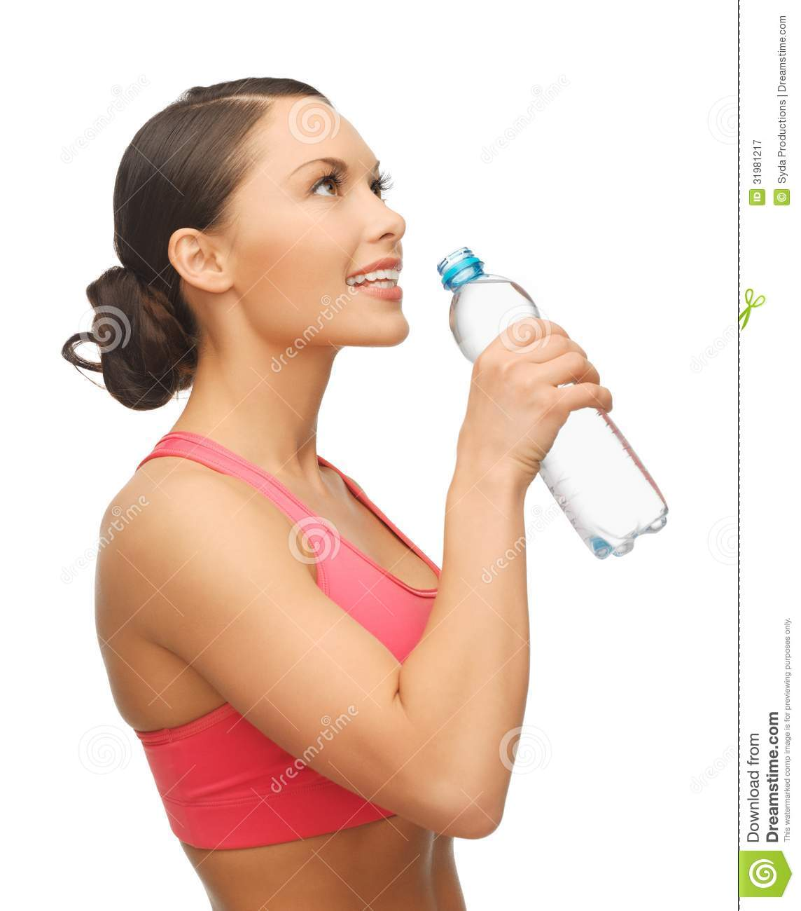 woman bottled water woman with bottle of water royalty
