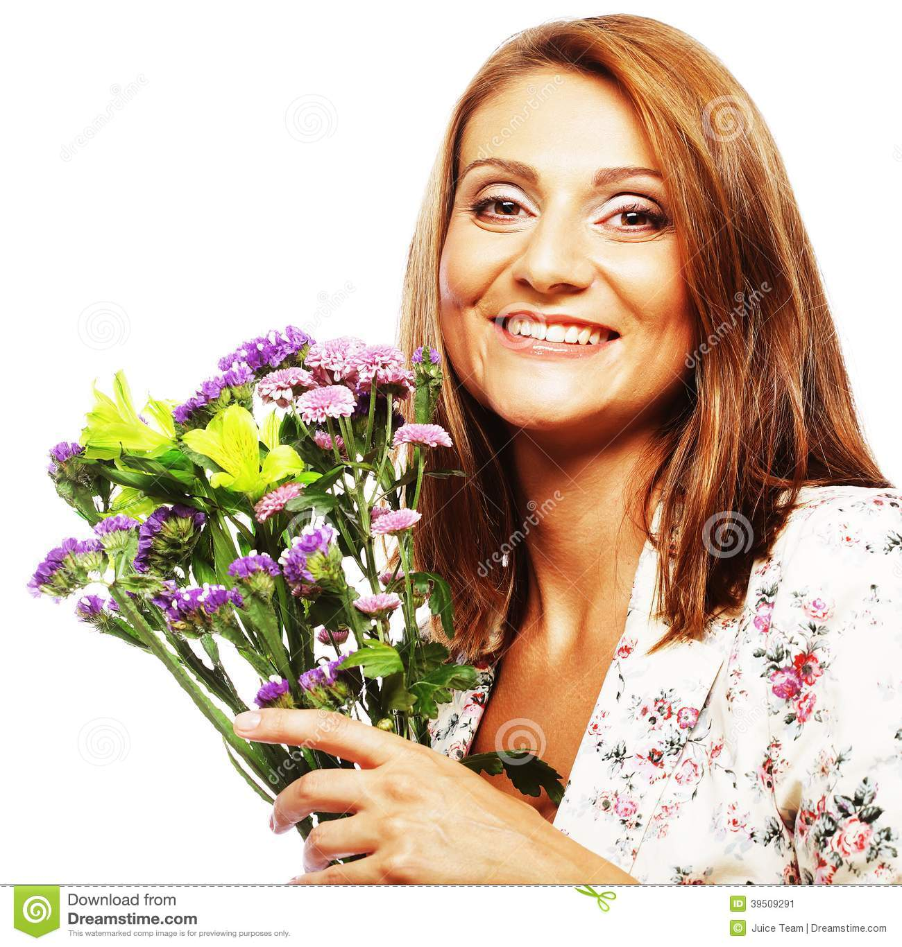 Woman with bouquet flowers