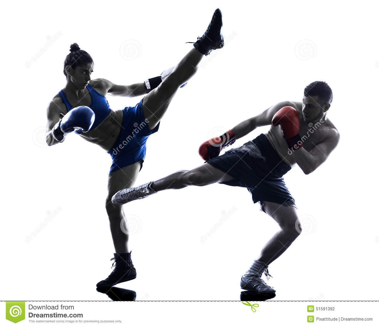 woman boxer boxing man kickboxing silhouette stock photo image of