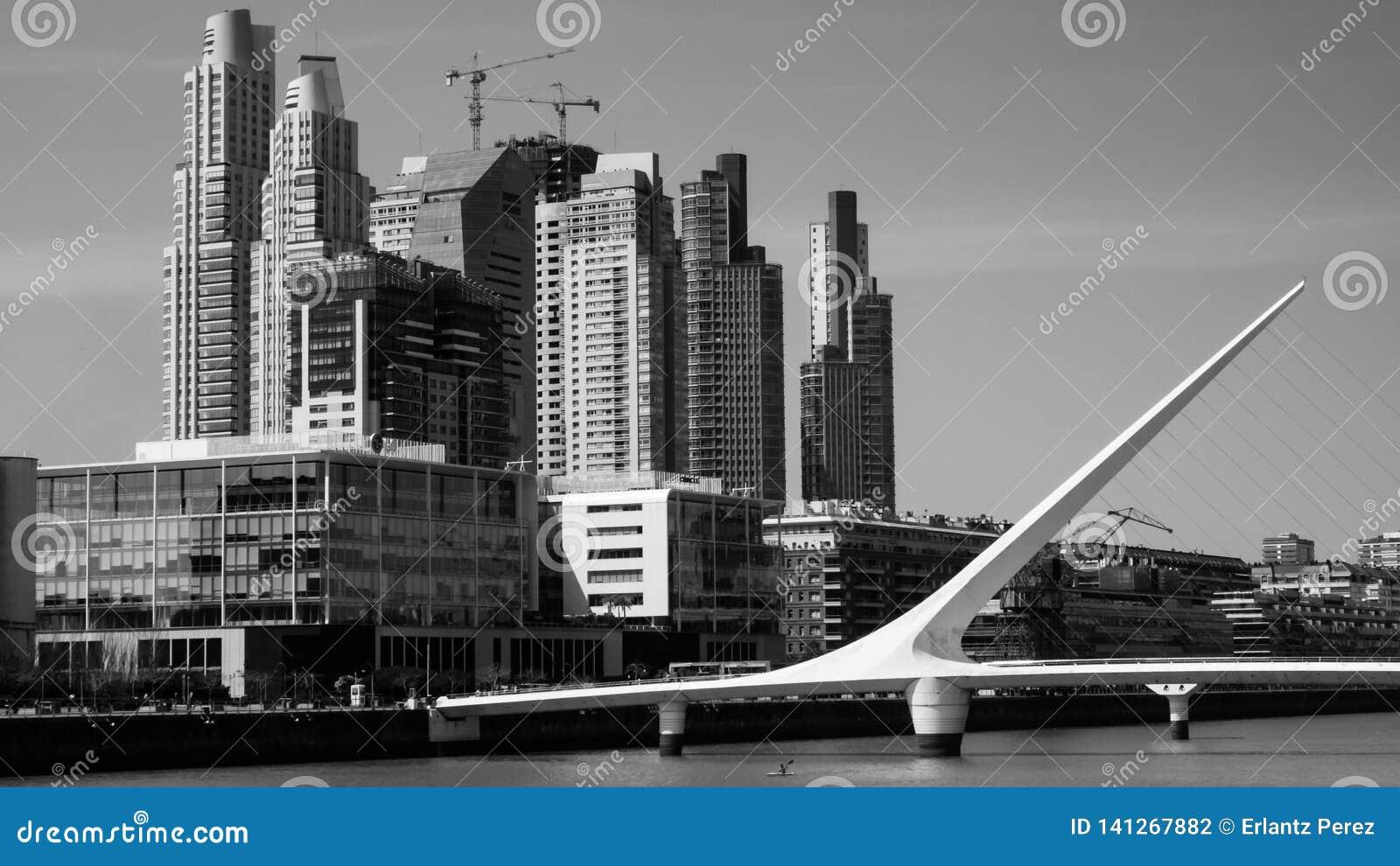 Woman Bridge of Calatraba in Buenos Aires,Puerto Madero, white and Black