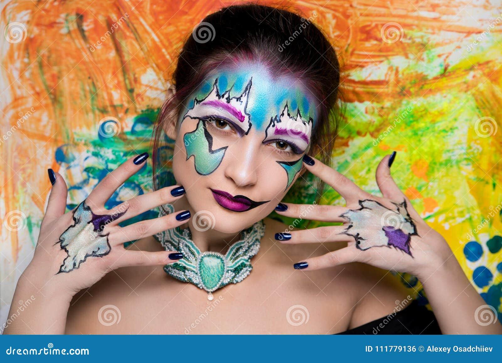 Woman bright art make up