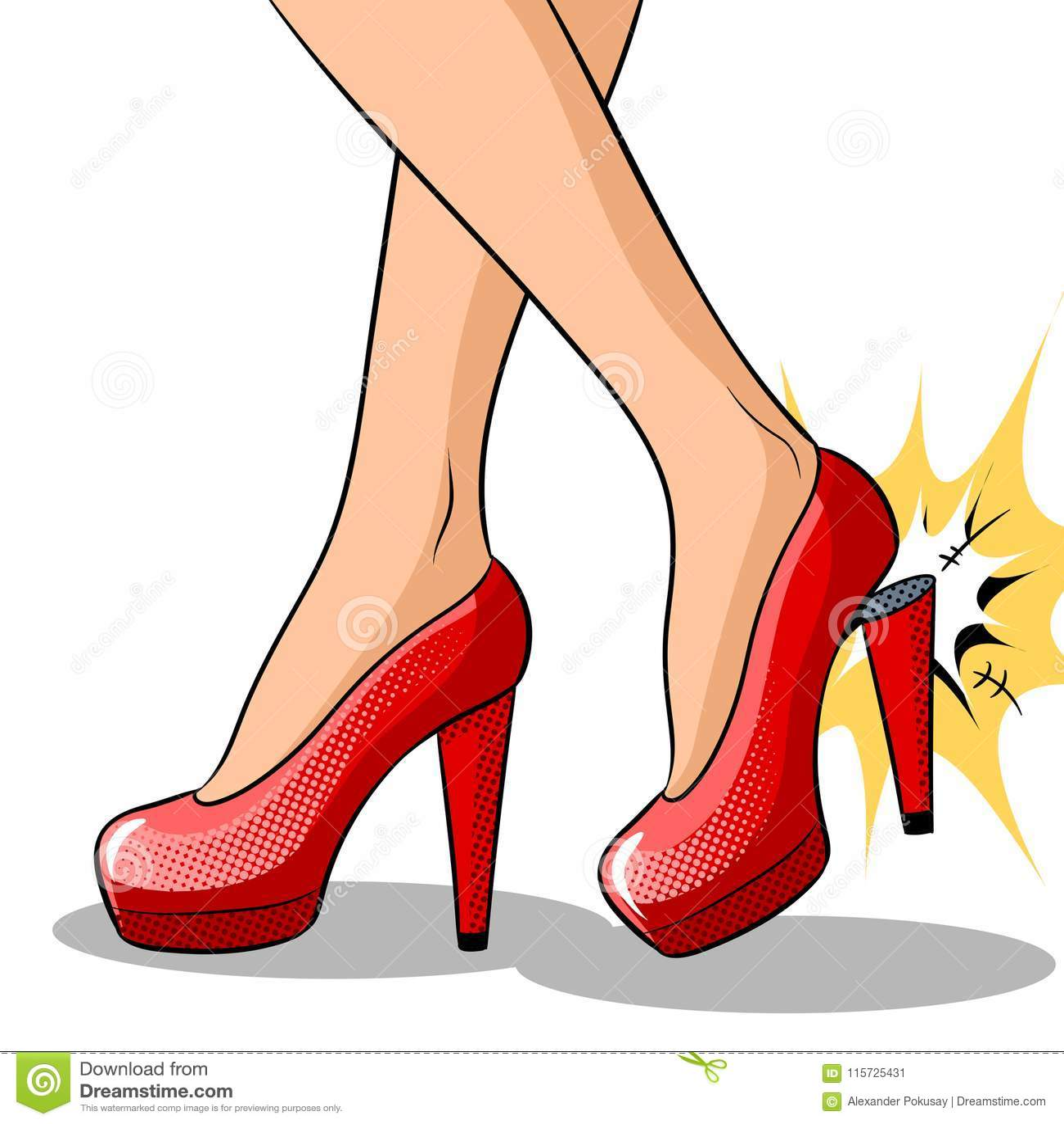 2dfddafd3bb Woman Broke Heel On Her Red Shoes Pop Art Vector Stock Vector ...