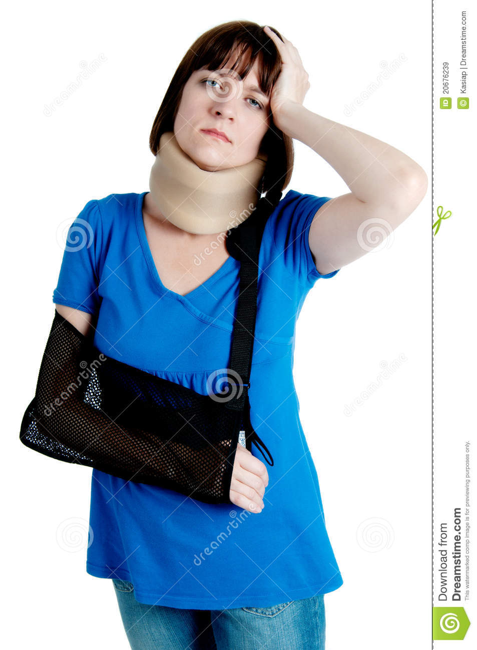 Broken Arm Woman with broken arm in sling