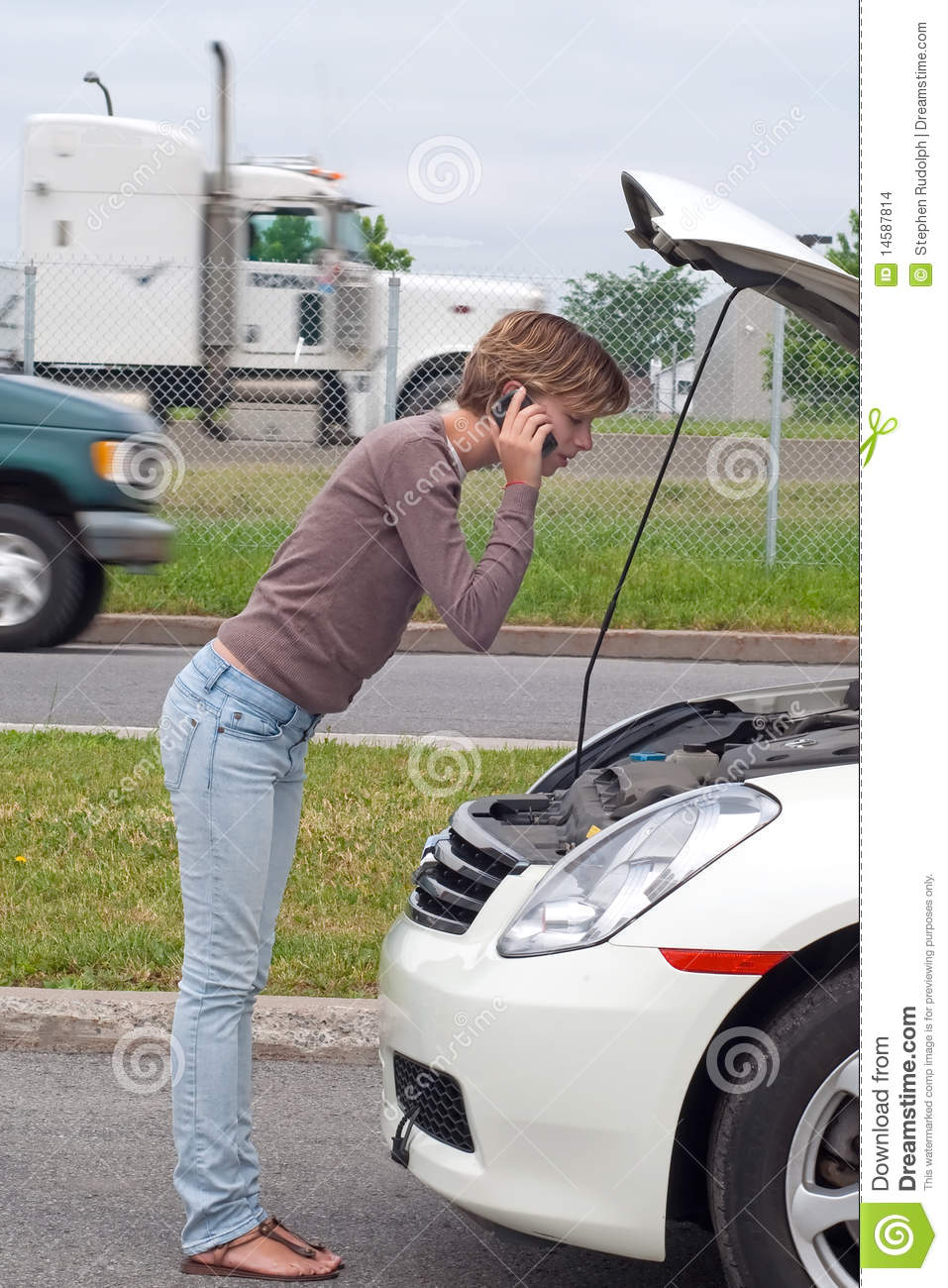 Broken Down Abandoned Stock Photos Broken Down Abandoned: Woman With Broken Down Car Stock Photo. Image Of Hood
