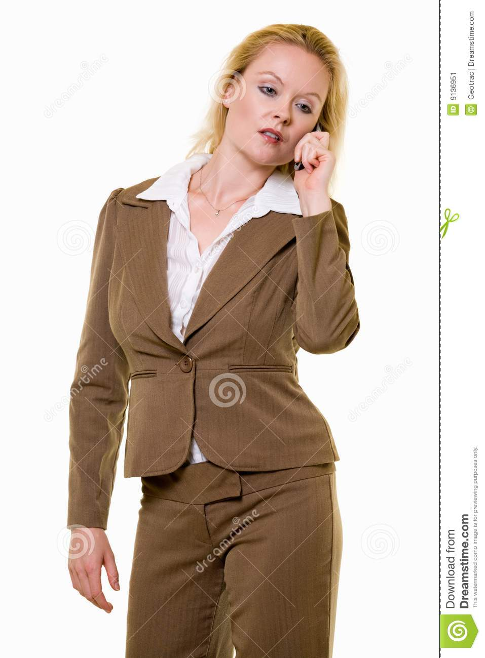 Woman In Brown Business Suit Stock Image - Image: 9136951