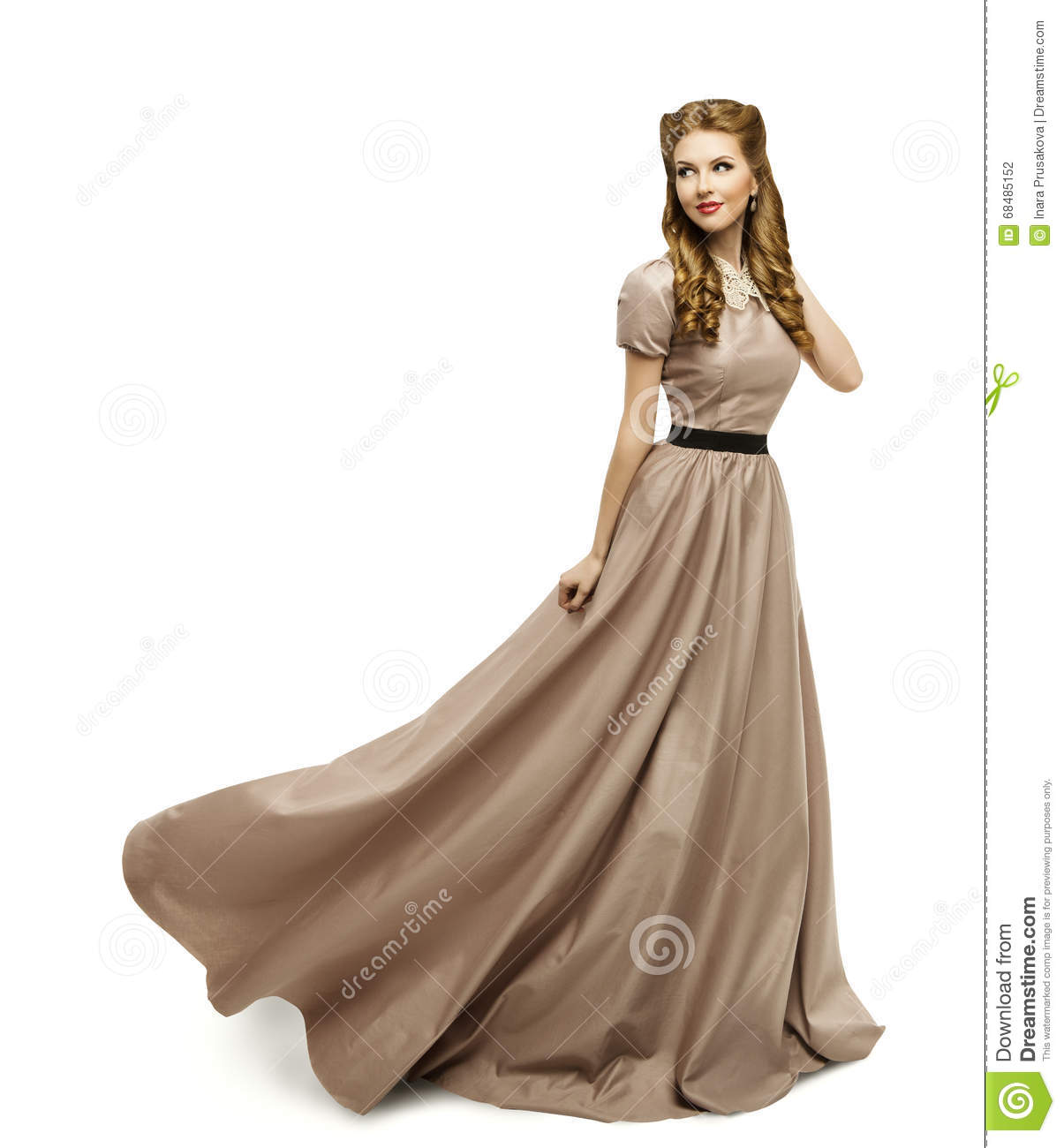 Woman brown dress fashion model in long gown turning - Modele dressing ...