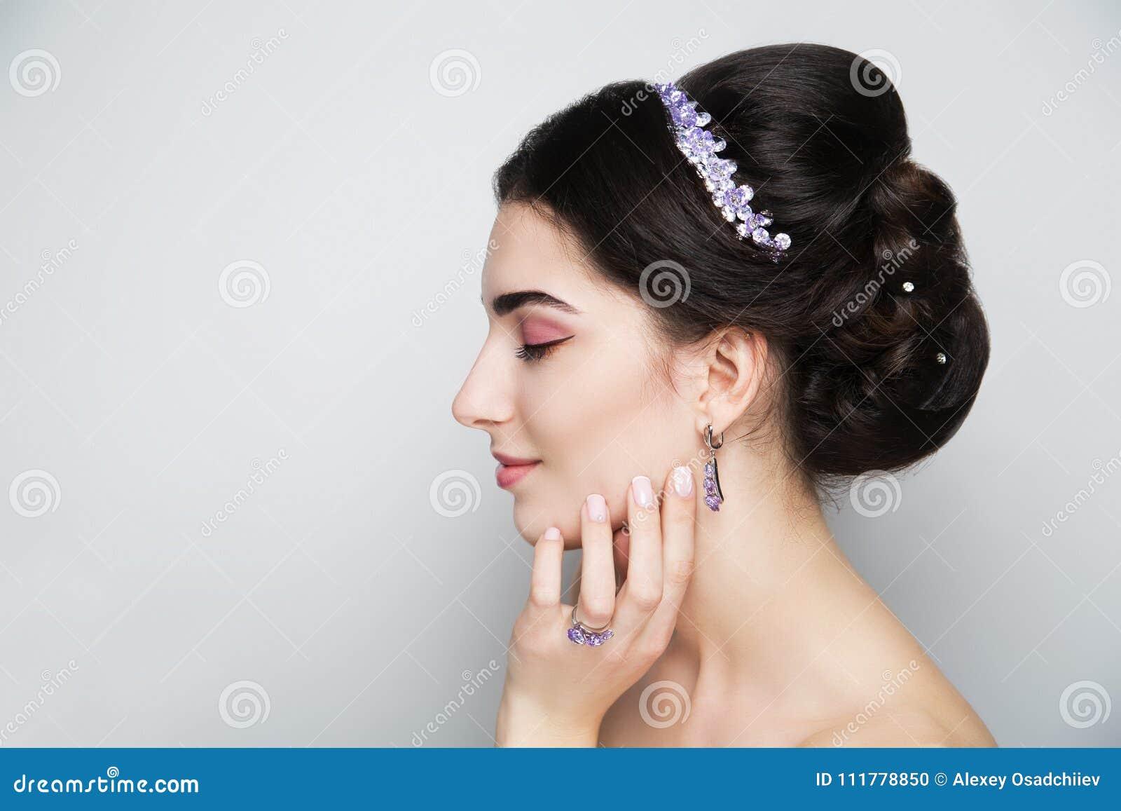 Woman brunette hair styling