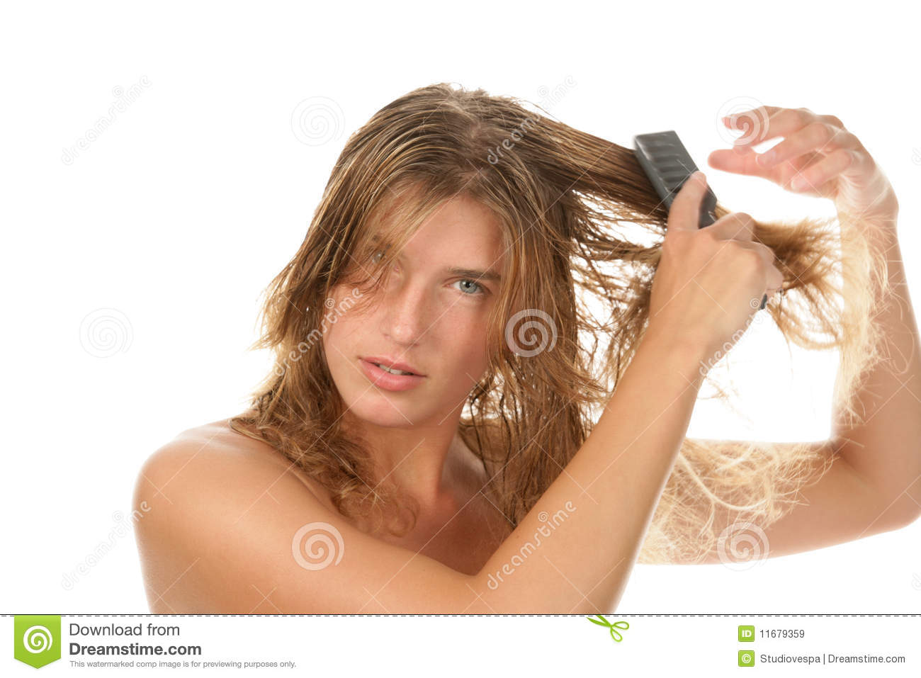Amateur brushing her hair