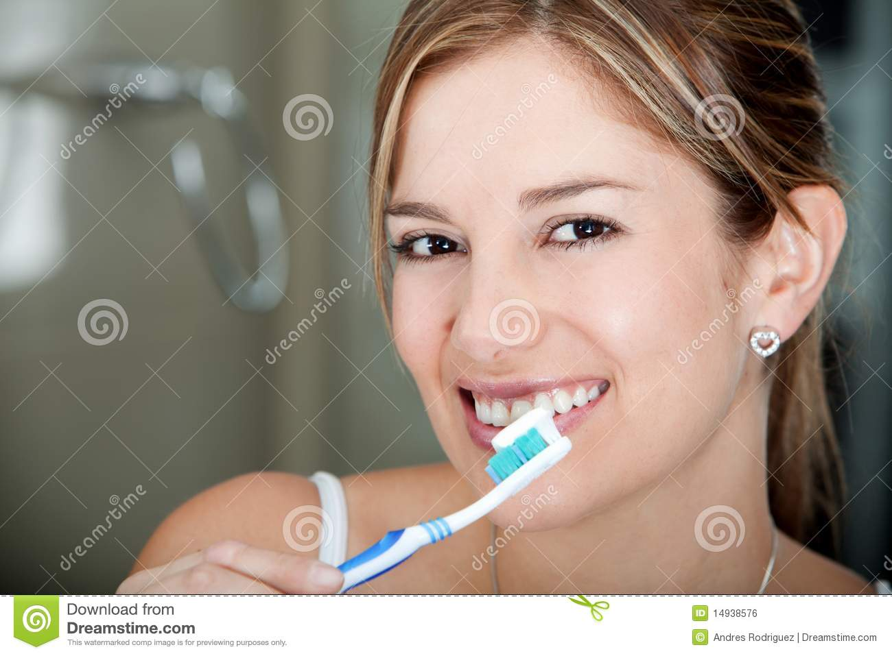 Woman Brushing Her Teeth Royalty Free Stock Image - Image ...