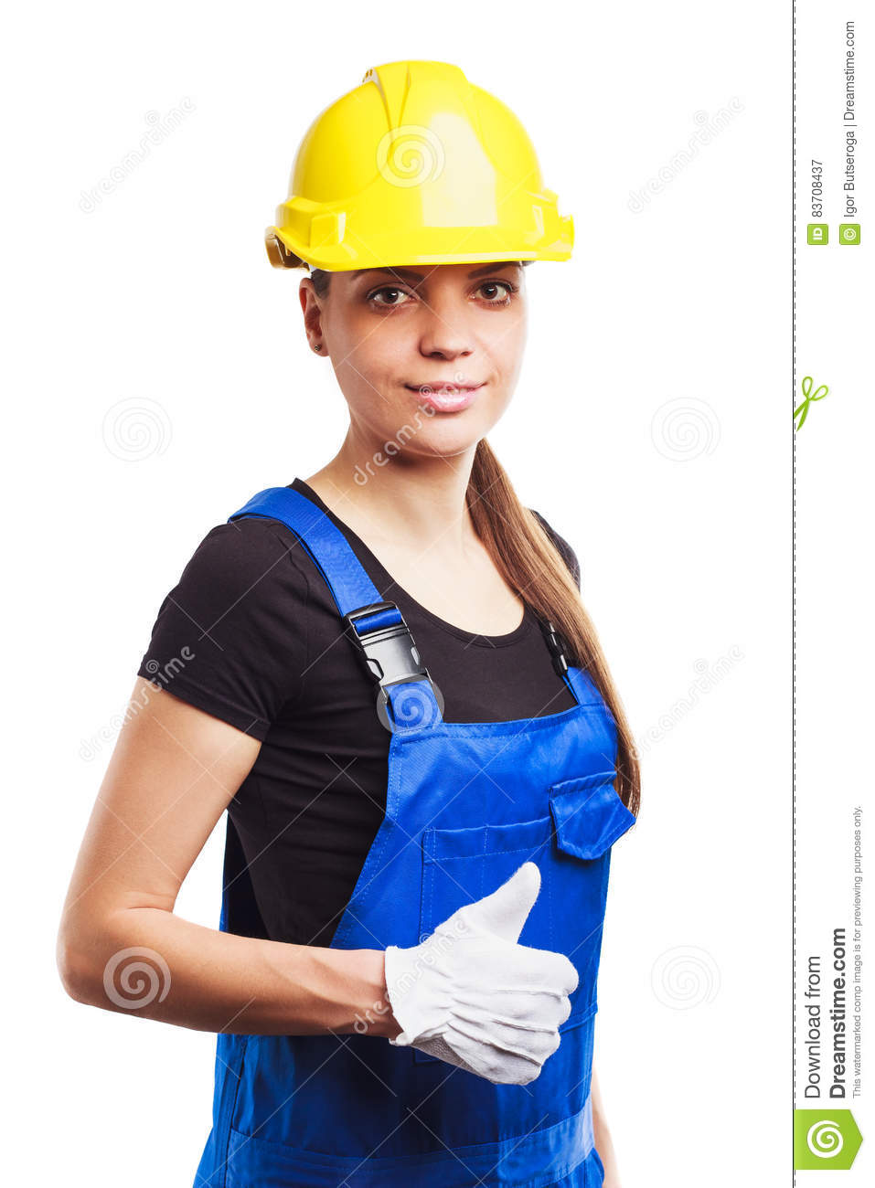 Woman Builder In The Uniform And Construction Gloves Stock Photo