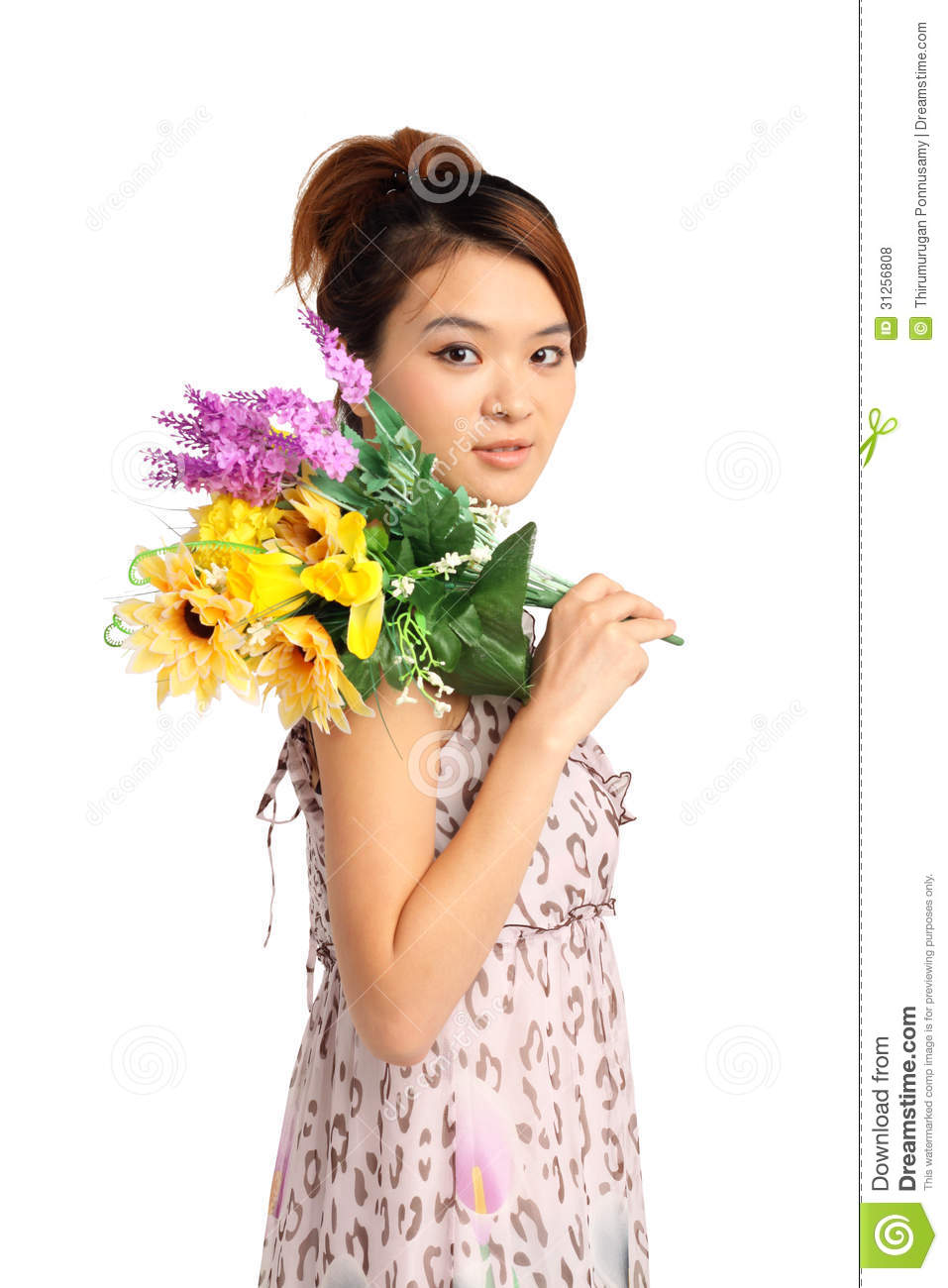 Woman With Bunch Of Flowers Royalty Free Stock Photos ...