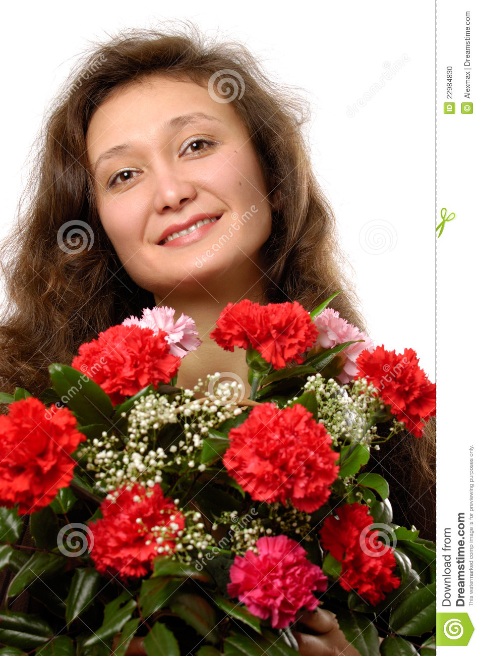 Woman with Bunch of Red Carnations