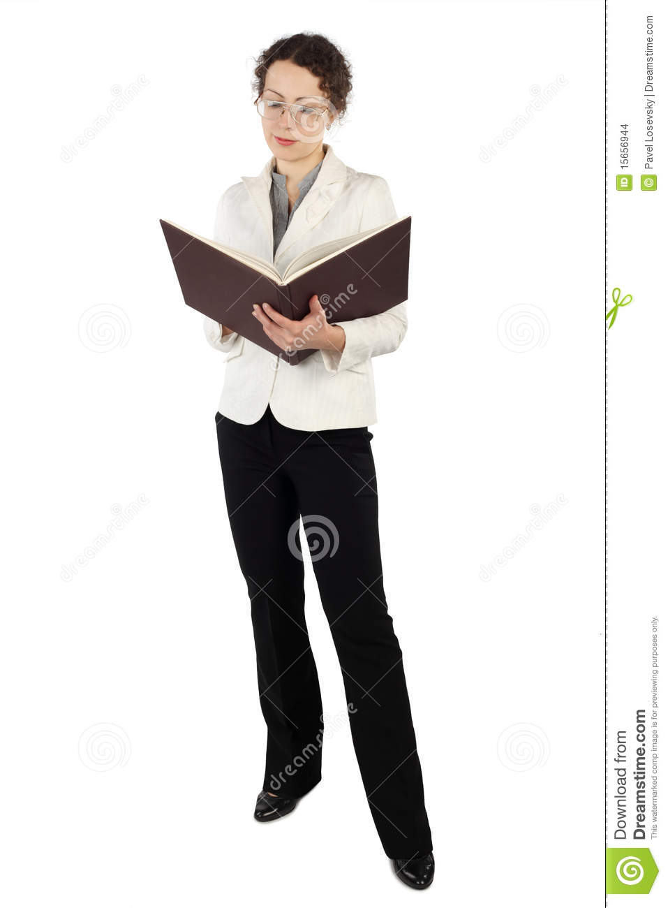 Young attractive woman in business dress standing and reading big book