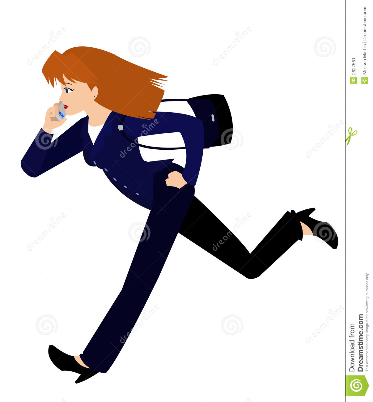Lady with red orange hair wearing a blue business suit and carrying