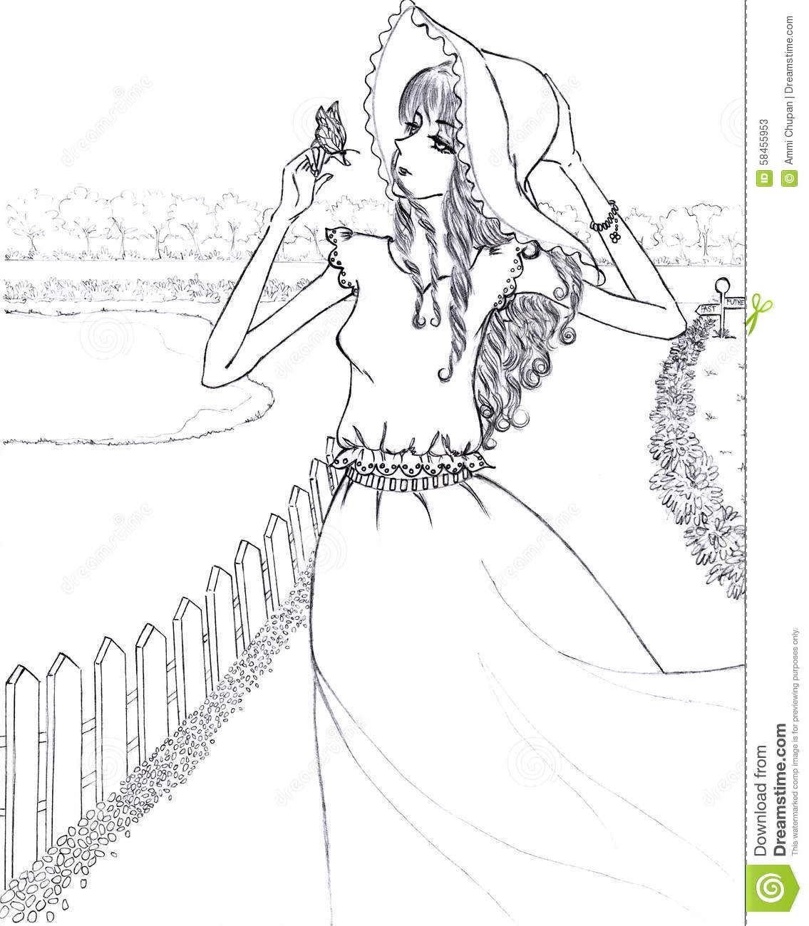 woman and butterfly line art drawing sketch illustration stock
