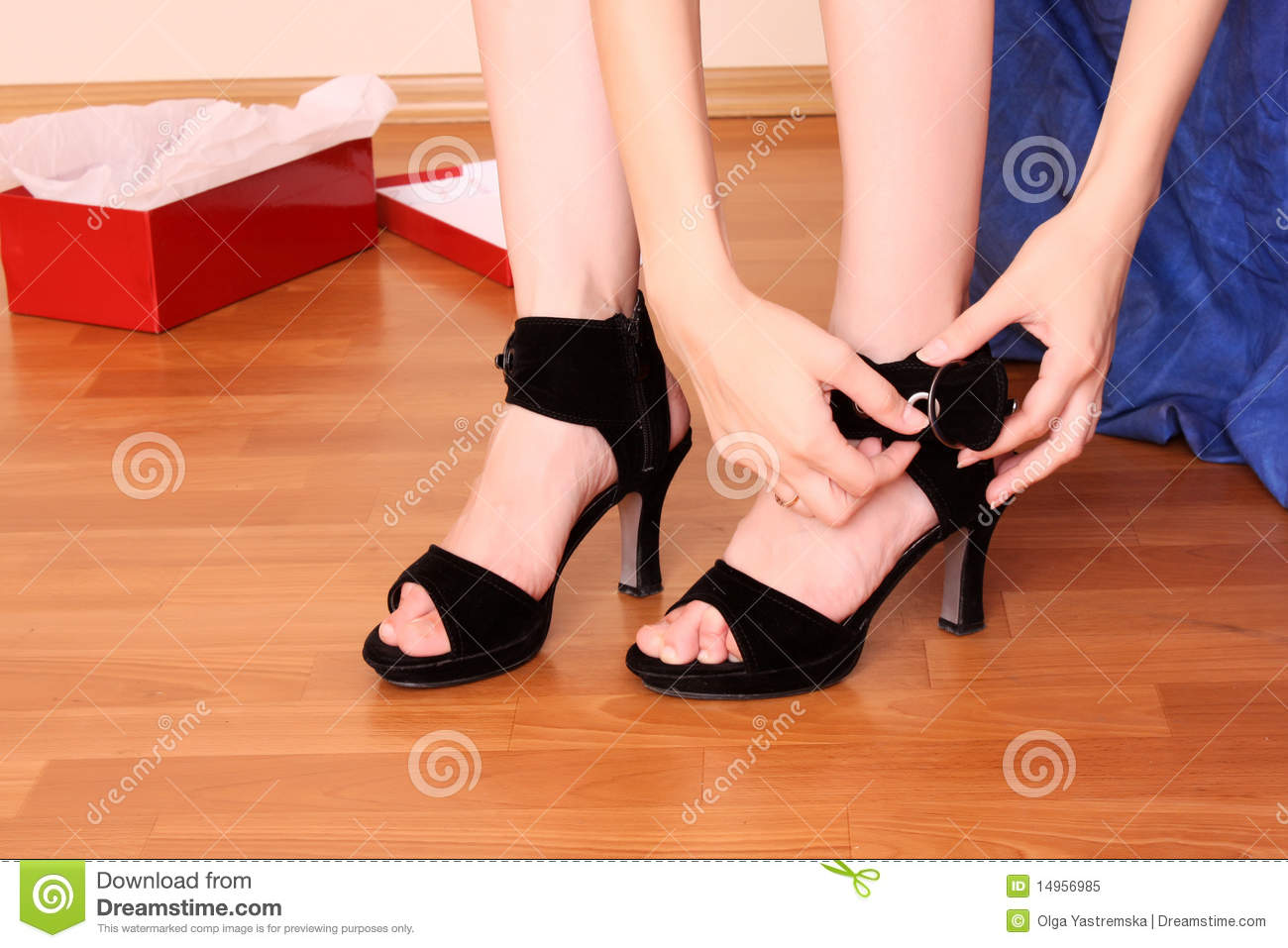 Woman buy new shoes