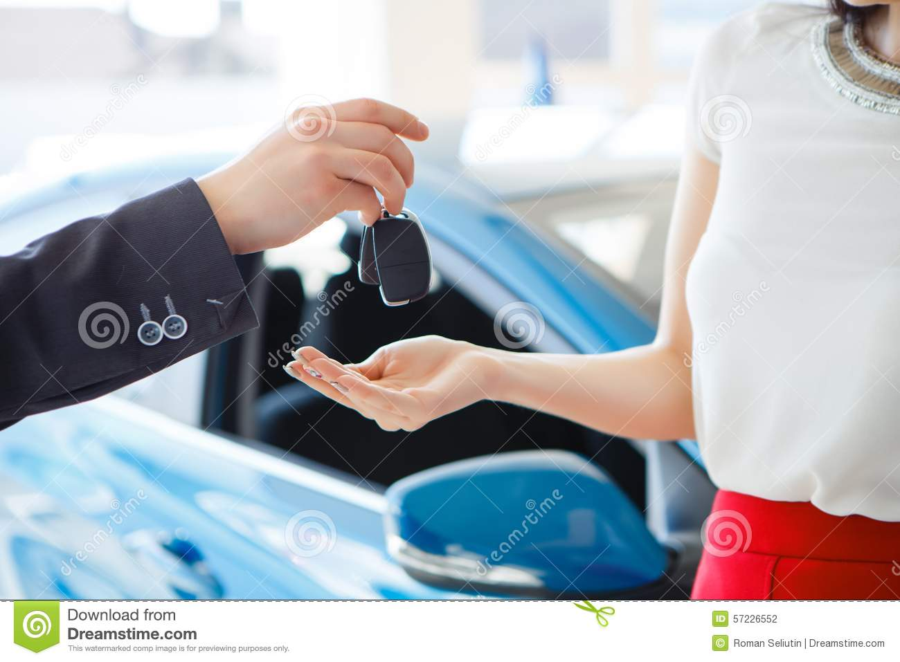 Expensive Car For Sale Or Gift Royalty Free Stock Image: Woman Buying A Car Stock Photo