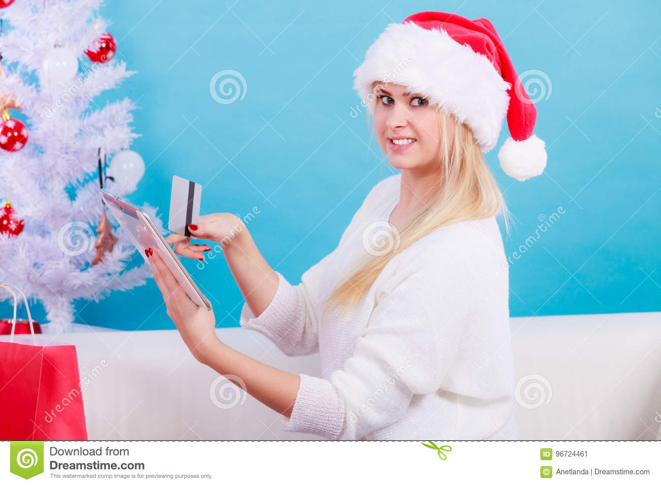 Woman Buying Christmas Gifts Online Stock Image - Image of holding ...