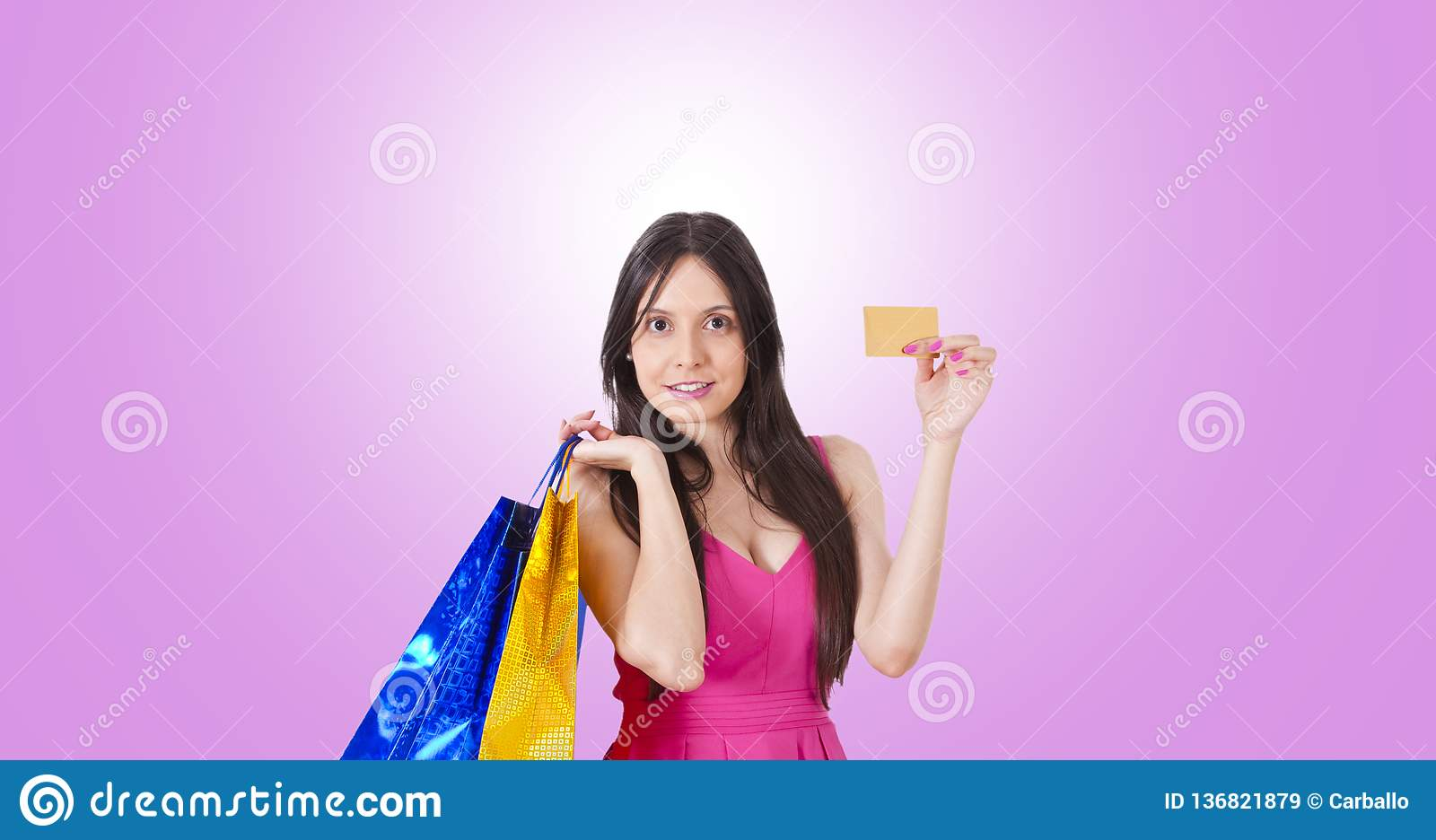 Woman buying with credit card