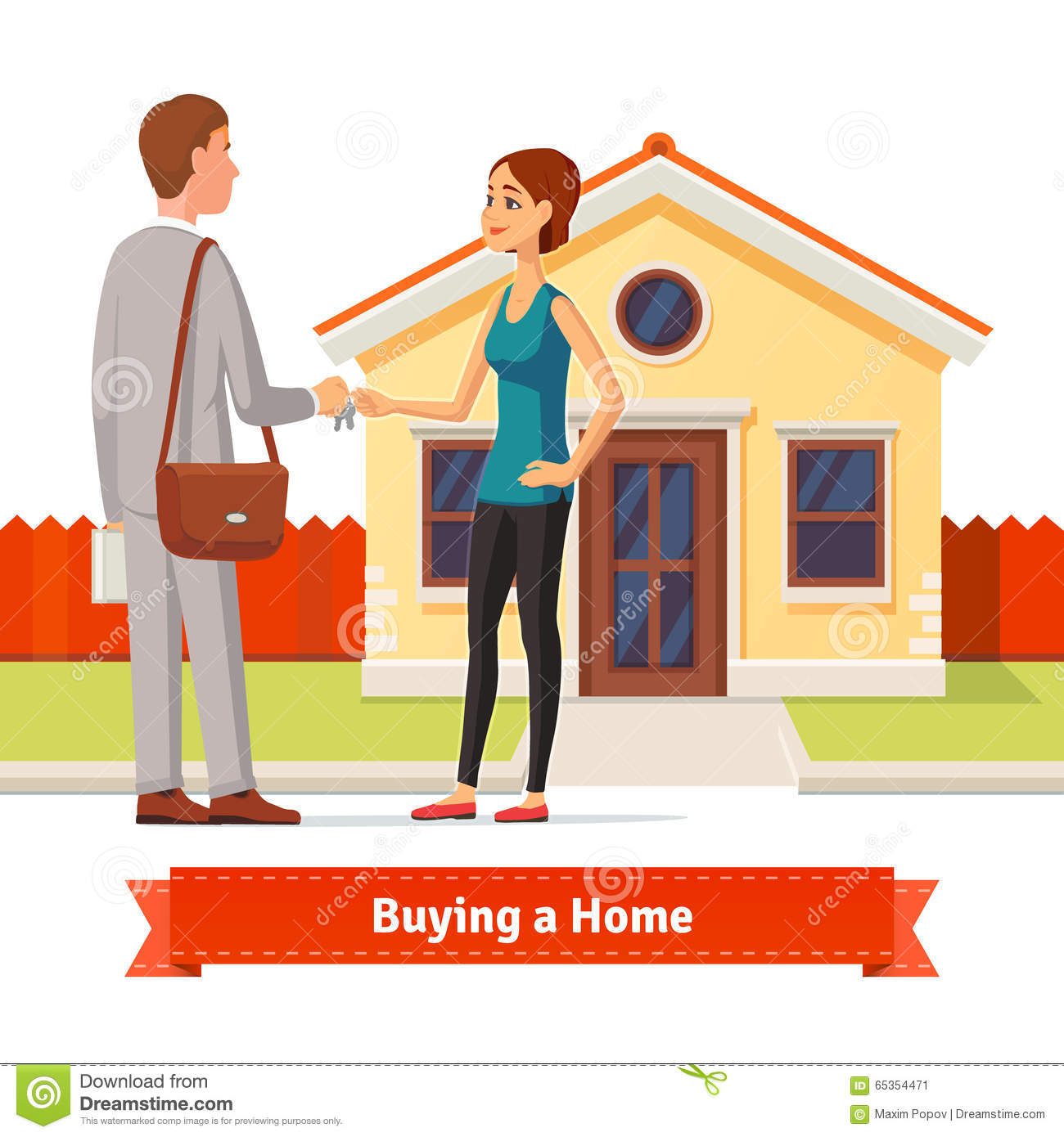 Woman Buying A New House Real Estate Agent Giving A Home Key Chain To
