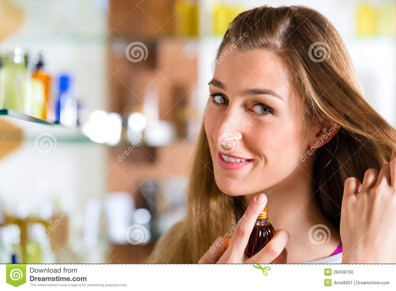 Woman Buying Perfume In Shop Or Store Stock Photo Image