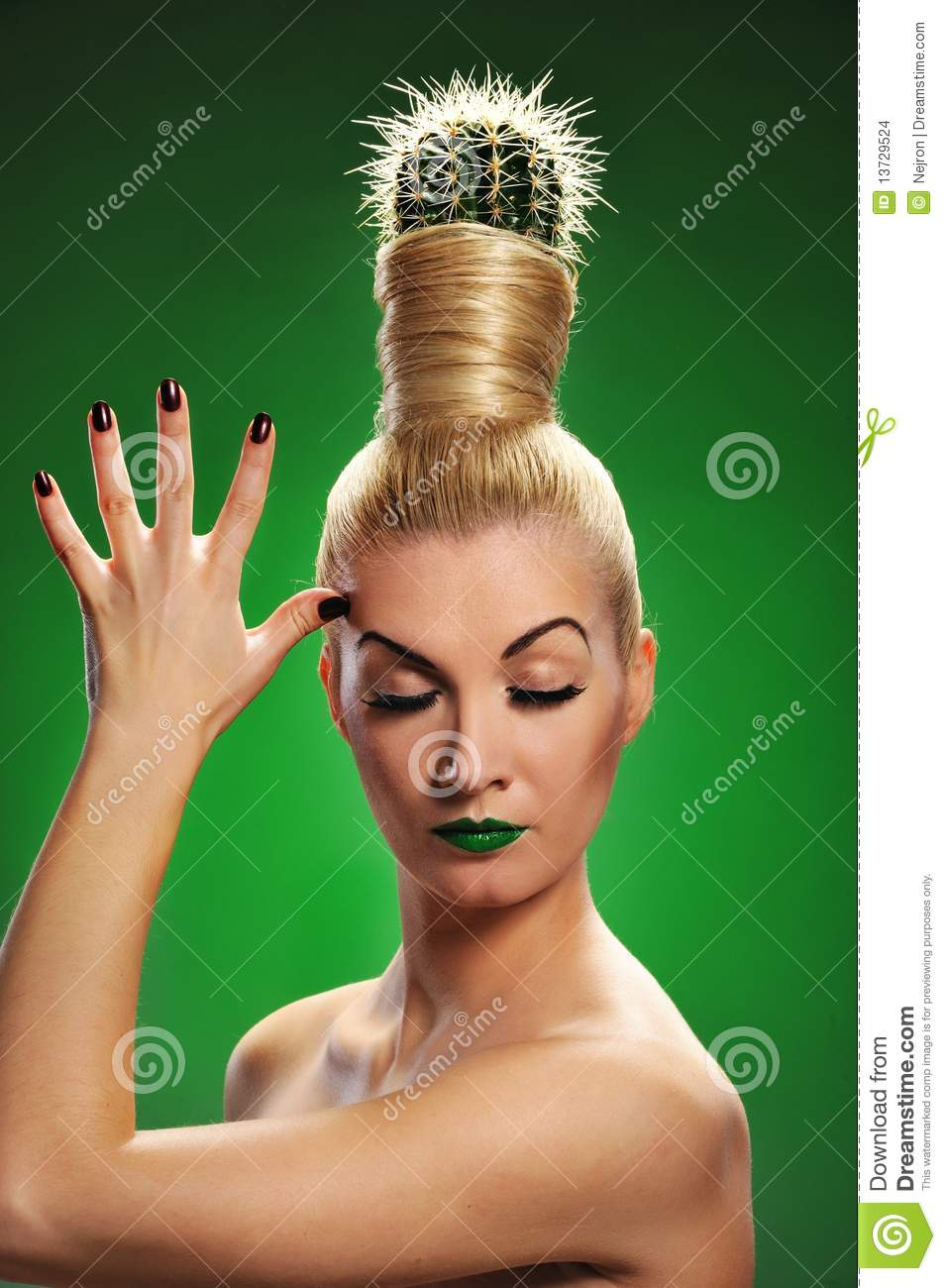 woman with cactus in her hair stock images image 13729524. Black Bedroom Furniture Sets. Home Design Ideas