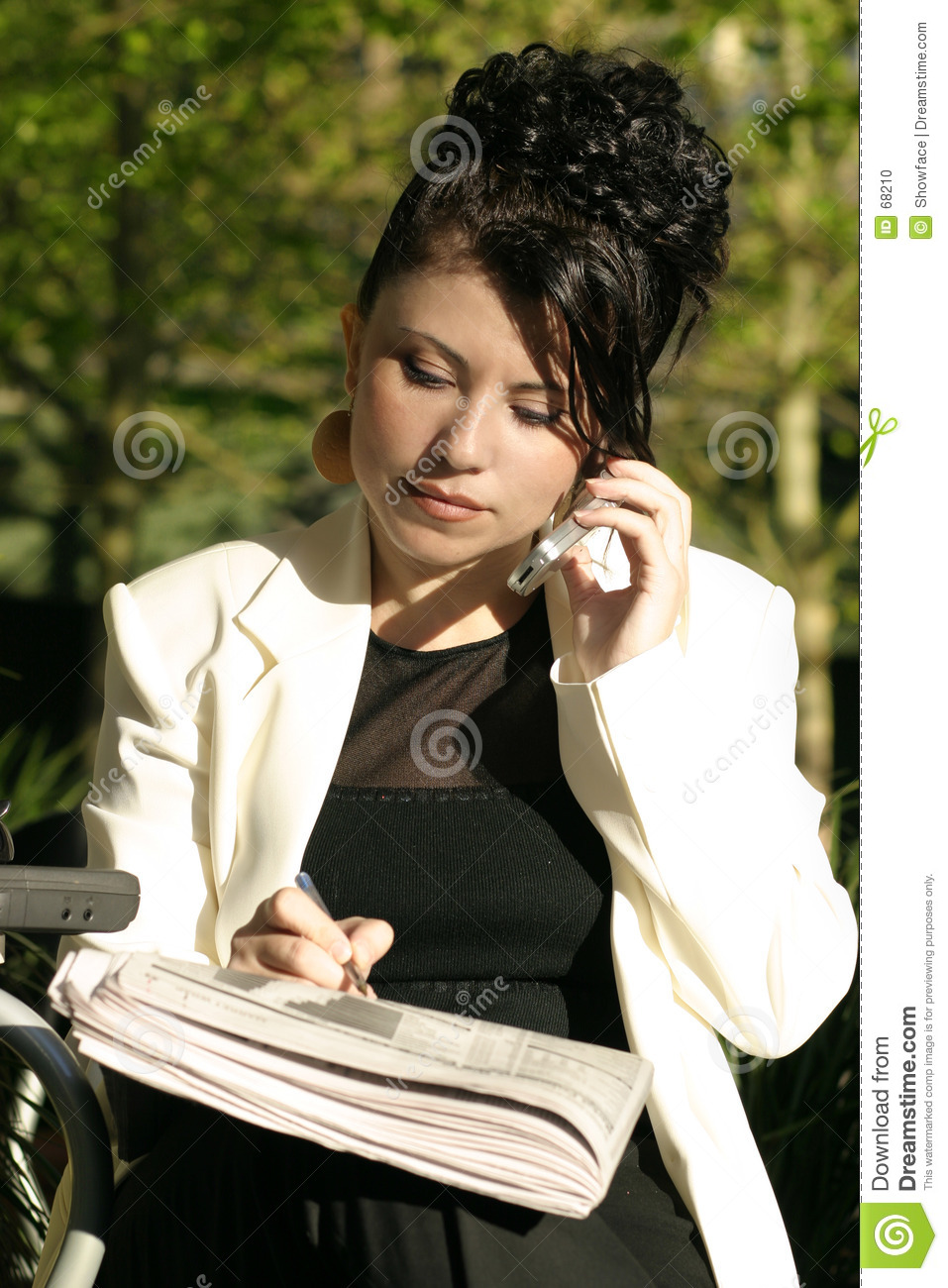 Woman at cafe doing business