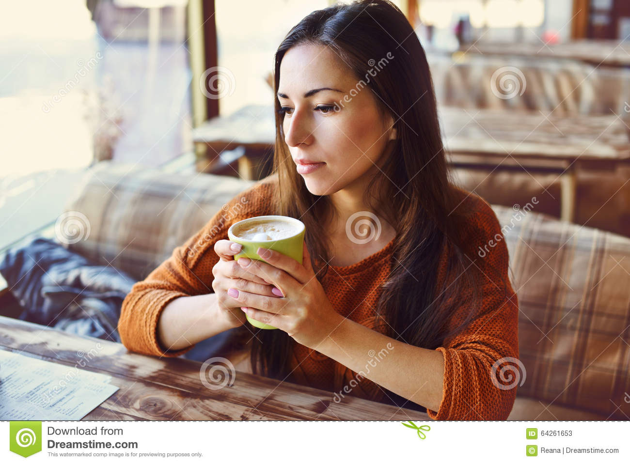Woman in cafe stock image. Image of morning, brunette ...