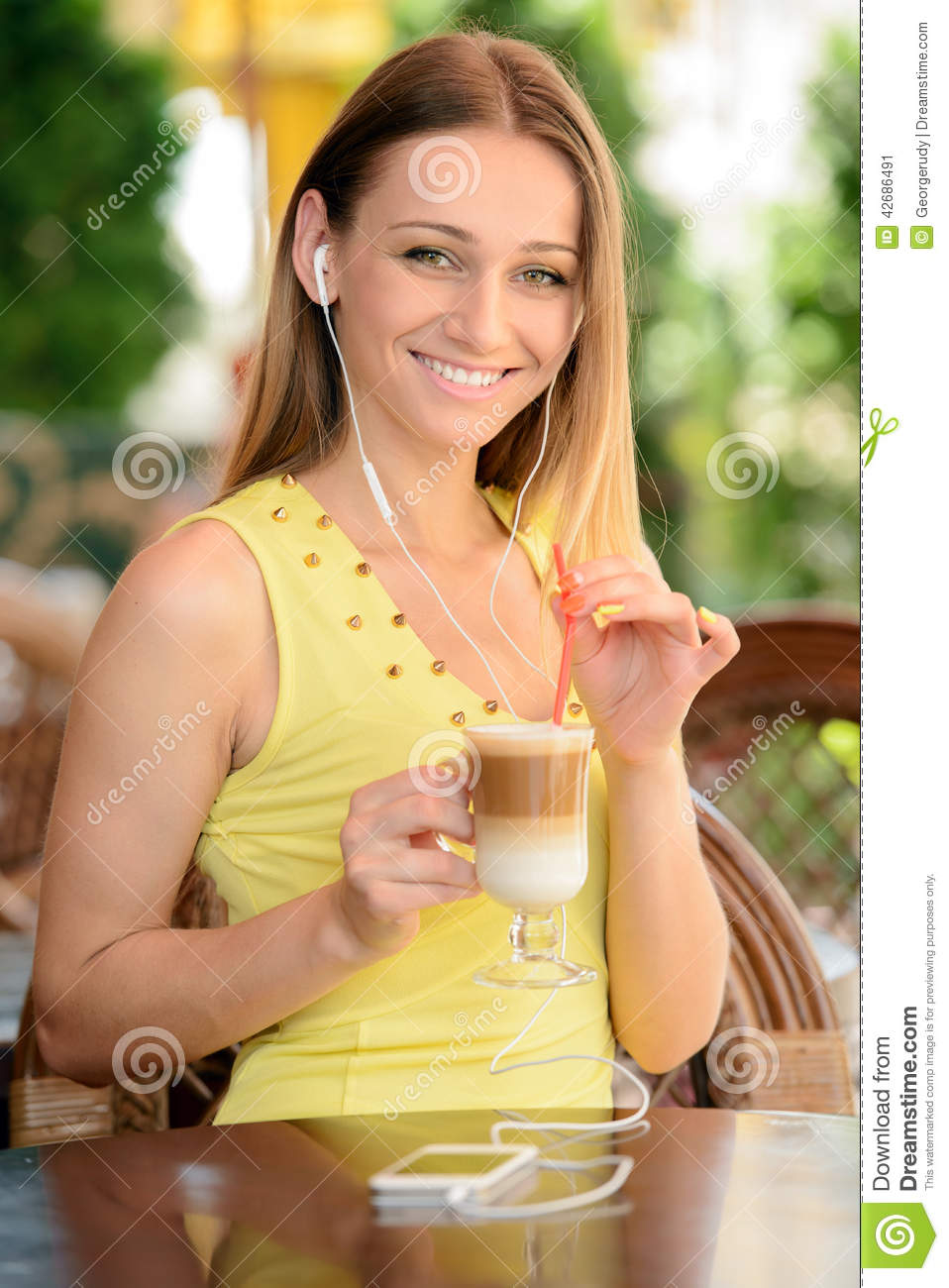 Woman In Cafe Stock Photo - Image: 42686491