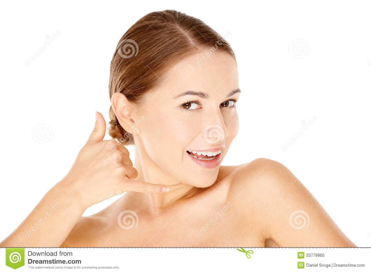 Woman With Call Me Gesture Stock Photo - Image: 33779960