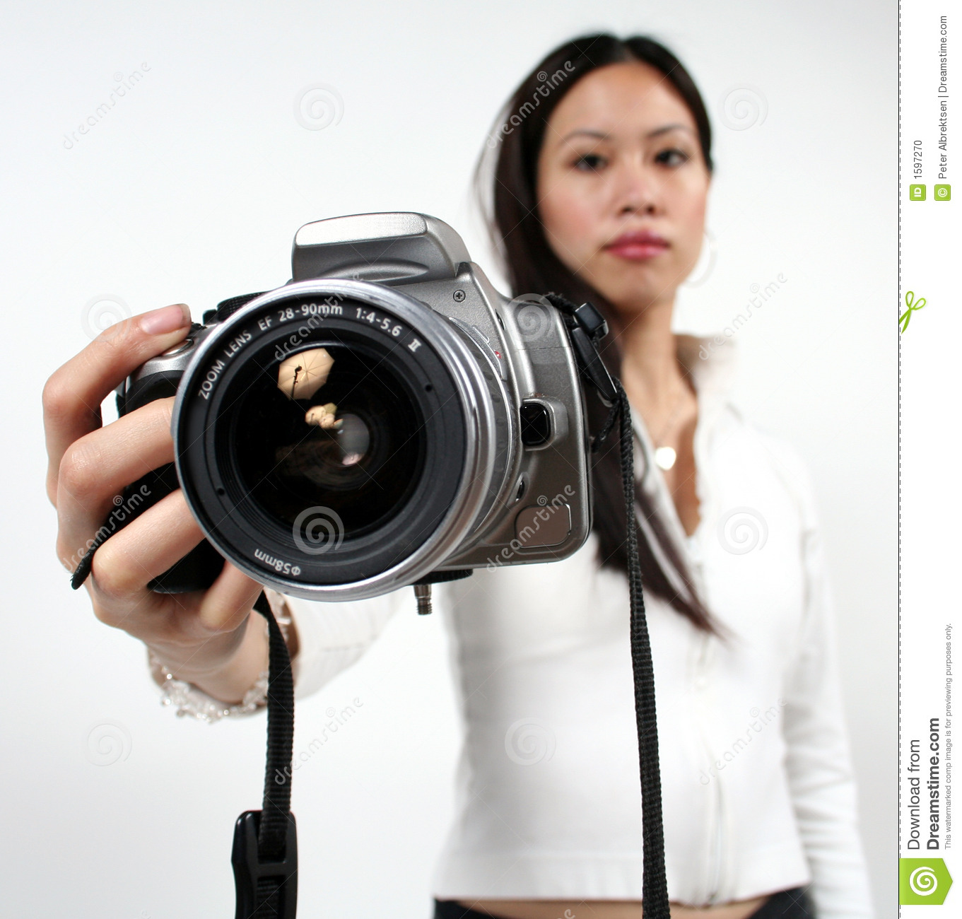 Woman and camera stock photo. Image of collars, friendly ...