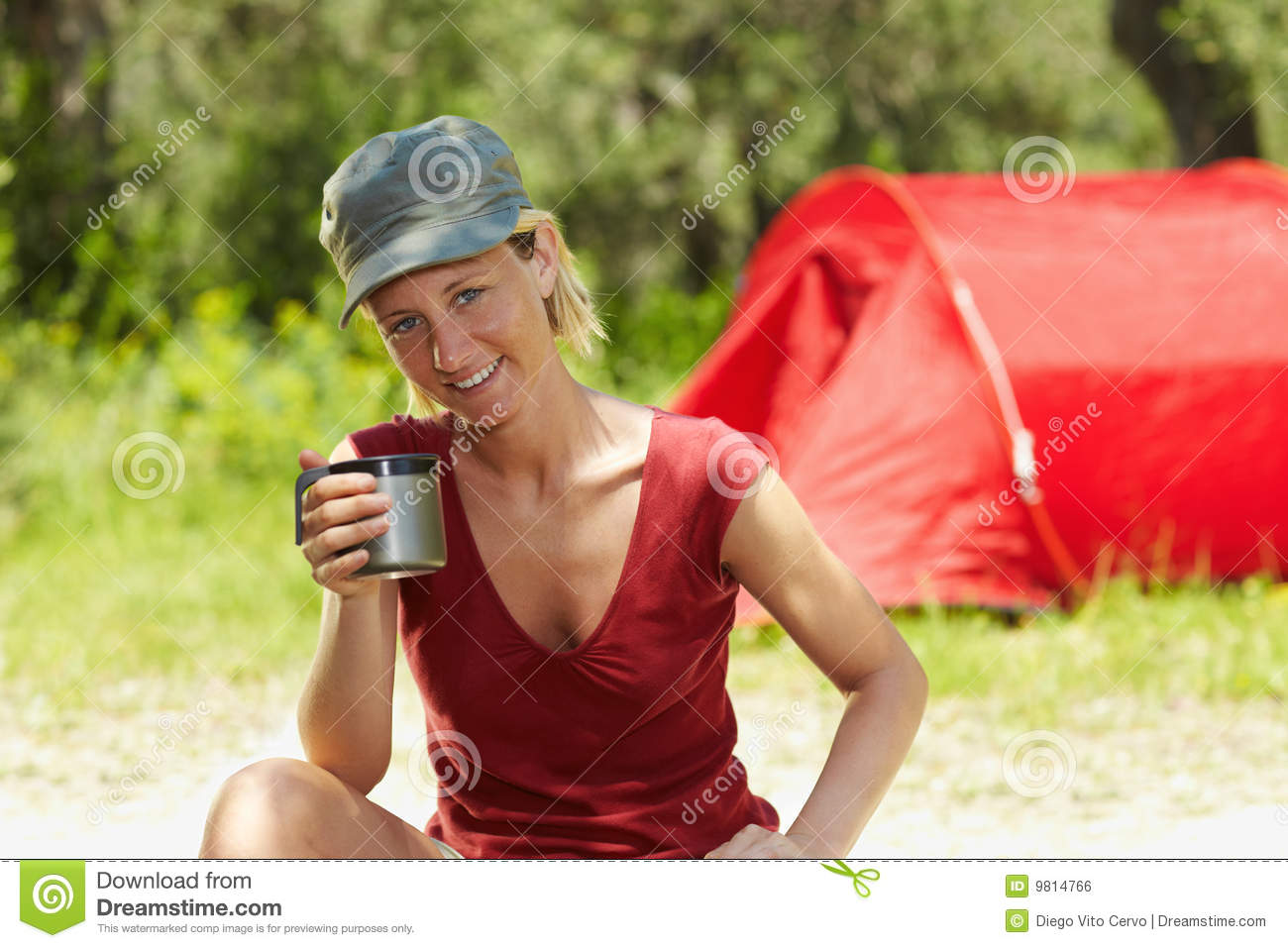 Woman Camping Royalty Free Stock Image Image 9814766
