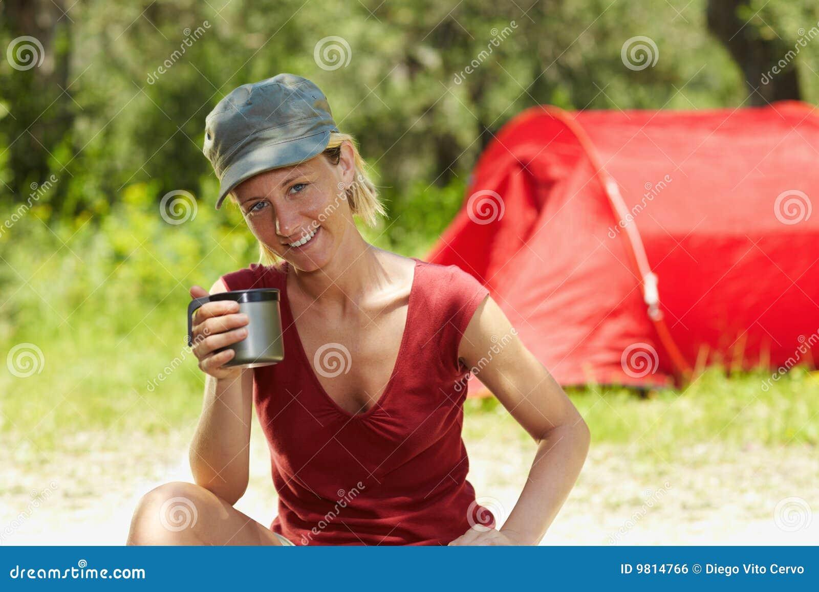 Woman Camping Royalty Free Stock Image - Image: 9814766